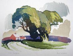 The Big Tree. Ernest W Watson Linoleum block print
