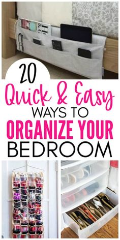 20 Amazing Organization Hacks That Will Transform Your Bedroom - Organization Obsessed Quick and Easy ways to organize your bedroom. Tips to organize your bedroom, maximize your bedroom storage space, and organize your clothes and shoes. Organizing Hacks, Home Organization Hacks, Organizing Your Home, Cleaning Hacks, Organising, Organization For Clothes, Dollar Store Organization, Small Space Organization, Hacks Diy
