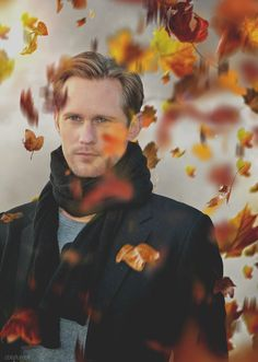 "canadianbeaversloveaskars: ""The colors of autumn make me wax poetic, so here's leaves and a guy who could definitely get it. ""Alexander Skarsgard"