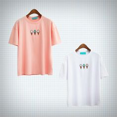 T-shirt+with+ice+cream+embroidery!+Available+in+pink+and+white.  Measurements: Chest+-+50cm++ Length+-+54cm++ Shoulders+-+50cm+ Sleeves+-+16cm