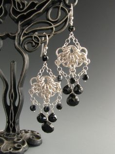 Celtic Fan Chain Maille Earrings with Black Onyx by Wolfstone Jewelry