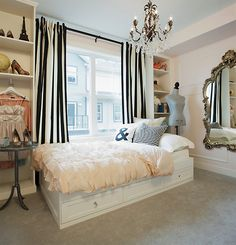 love the simplicity of these floor length black & white striped curtains.