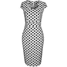 Vintage Black White Polka Dot Bodycon Dress (¥3,670) ❤ liked on Polyvore featuring dresses, black white dress, white and black dress, cotton dresses, white and black bodycon dress and black and white polka dot dress