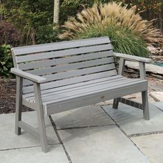 Highwood Weatherly Eco-friendly Marine-grade Synthetic Wood Garden Bench (Whitewash), Beige Off-White, Patio Furniture Garden In The Woods, Home And Garden, Garden Art, Family Garden, Plastic Garden Bench, Garden Furniture, Outdoor Furniture, Furniture Projects, Antique Furniture