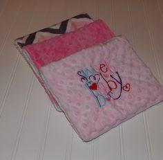 Baby Burp Cloths/Pink Chevron Minky/ Pink Minky Dot by DarlenesNeedlesnPins on Etsy