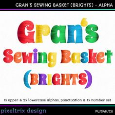 Commercial Use *Instant Download* Digital Alphabet **GRANS SEWING BASKET Brights** Scrapbooking Alpha by PixeltrixDesign on Etsy