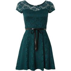 Wal-G Lace fit and flare dress ($19) ❤ liked on Polyvore featuring dresses, vestidos, short dresses, green, blue mini dress, short lace dress, short sleeve dress, blue lace dress and green mini dress