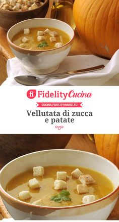 Vellutata di zucca e patate Cheeseburger Chowder, Risotto, Curry, Food And Drink, Soup, Cooking, Ethnic Recipes, Recipes, Diet