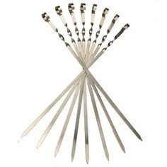 "8 Long Flat Stainless Steel Skewers. (L22,8 /W 0,45 /T 0,05 Inch) . $34.00. Stainless Steel. Measures 22,8 inches long (60 Sm). These skewers are for 1"" to 1.5"" size cubes of meat.. Peel off label by hand. Place skewer on hot grill for 5 min. Wipe off what's left.. Not dishwasher safe. For those who like shish-kabobs, our flat metal skewers offer you strong and durable options when it is time for grilling. The sharp ends and sturdy design make it easy to put on them a..."