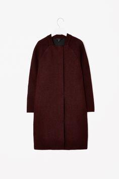Raw edge wool coat