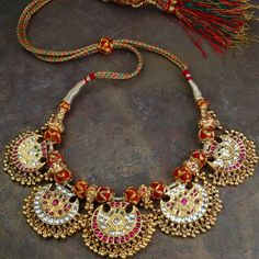Vintage kundan necklace- Revival of an antique pendant to render this a complete necklace in 'kundan' style, is part of Gehna's private collection.