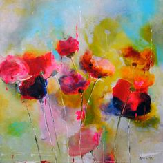 Red Revival - painting by Emilija Pasagic at Crescent Hill Gallery
