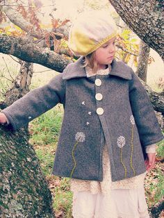 Wool Dandelion Coat Hand Embroidered by BigLittle on Etsy Kids Outfits Girls, Girly Outfits, Childrens Coats, Embroidered Clothes, Coat Patterns, Sewing For Kids, Wool Coat, Kids Wear, Couture