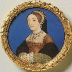 Miniature paiting of Holbein that tradition states to be of Cathrine Howard. The miniature of Catherine Howard has been identified thanks to the lavish jewels that she wears and which are clearly the same as the ones that appear in the Holbein portrait of Jane Seymour and are known to belong to the personal collection of the Queen of England.