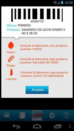 Pantalla de la aplicación IntolerApp, aplicación desarrollada por Neosono