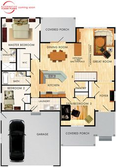 2 bedroom perfect for empty nesters. Features 9 foot high ceilings plus a cathedral ceiling in the great room. Simple Floor Plans, Small House Floor Plans, House Plans One Story, Dream House Plans, Cottage Plan, Cottage Living, Beaver Homes And Cottages, Best Home Plans, Ranch Style Homes