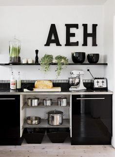 A personalized kitchen wall monogram. New Kitchen, Kitchen Dining, Kitchen Decor, Kitchen Ideas, Dining Room, Kitchen Ware, Kitchen Interior, Black Kitchens, Home Kitchens