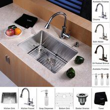 "View the Kraus KHU101-23-KPF2220-KSD30 23"" Undermount Single Bowl 16 Gauge Stainless Steel Kitchen Sink with Pullout Spray Kitchen Faucet and Soap Dispenser at FaucetDirect.com."