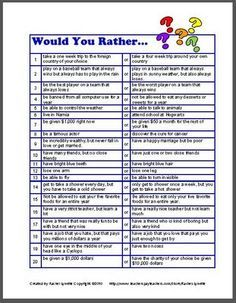 """""""Would You Rather..."""" Questions 
