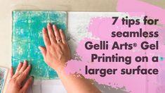7 Tips for Seamless Gelli Arts® Gel Printing On A Larger Canvas by Marsha Valk Gelli Plate Printing, Stamp Printing, Printing On Fabric, Transfer Printing, Gelli Arts, Art Journal Techniques, Stencil Painting, Handmade Books, Card Tutorials