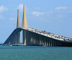 Sunshine Skyway Bridge, St. Petersburg, FL  Pretty to look at, but a horror to be on (and I do not have a fear of bridges). If the wind is blowing too hard they close the thing down because it sways so much. Then there's the joy of seeing the old collapsed bridge right next to it. Min