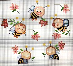 This Pin was discovered by Rui Cross Stitch For Kids, Mini Cross Stitch, Cross Stitch Flowers, Diy Embroidery, Cross Stitch Embroidery, Embroidery Patterns, Cross Stitch Patterns, Crochet Cross, Cross Stitching