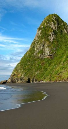 View of Paritutu towering over the back beaches - near New Plymouth port, NZ