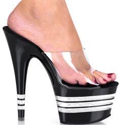 "6 1/2"" Stiletto Heel Lined Bottom Platform Slide #Sinful #Shoes #Exotic #Erotic #Pole #Dancer #Stripper #Sexy #High #Heels #Platform #Statement #Stripe #Racing #Contrast #Clear #Black #Sandal"