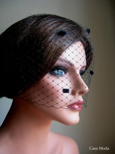 Birdcage Veil Bandeau Style in Black Color With by casamoda