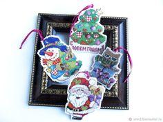 Купить Украшения на новогоднюю елку Санта и его друзья ручная вышивка крестом - украшение для елки