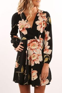 Day Tripper Long Sleeve Dress Black