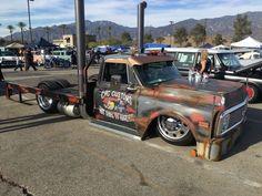 Slammed Dually Hauler at Mooneyes Christmas Show 2017 Bagged Trucks, Dually Trucks, Big Rig Trucks, Gm Trucks, Cool Trucks, 72 Chevy Truck, Classic Chevy Trucks, Chevy Pickups, Diesel Rat Rod