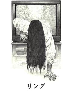 Ring Sadako art by Neil Davies The Ring Series, Horror Art, Pencil Drawings, Illustration, Giclee Print, Alternative, Artist, Prints, Painting