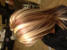 Beige base with platinum highlights and toffee lowlights. Hair by Danielle Sanchez!