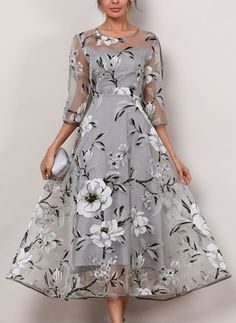 Floral 3/4 Sleeves Midi A-line Dress - Floryday @ floryday.com