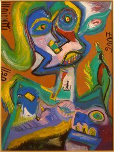 Eine Malerei des italienischen Art-Brut-Malers Ugo Mainetti, *1945, der ursprünglich Metzger war. Metzger, Art Brut, Painting, Art, Pictures, Painting Art, Paintings, Painted Canvas, Drawings