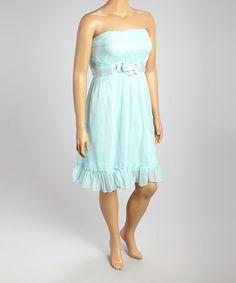 Another great find on #zulily! Mint Ruffle Hem Strapless Dress - Plus #zulilyfinds
