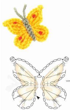 Tina's handicraft : 4 designs & patterns for butterflies Tina. - Tina's handicraft : 4 designs & patterns for butterflies Tina's handicraft : - Appliques Au Crochet, Crochet Butterfly Pattern, Irish Crochet Patterns, Crochet Bows, Crochet Diagram, Crochet Motif, Crochet Leaves, Crochet Flowers, Diy Crafts Crochet