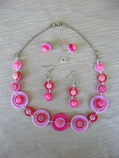 BUTTONS JEWELRY button nacklace shade of pink & green with silver chain. buy necklace get earring in the same colours for FREE. $38.00, via Etsy.