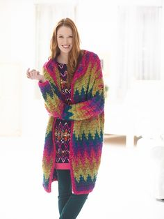 Crocheted Flame Stitch Coat. I would use different colors, but I love this tribal pattern.