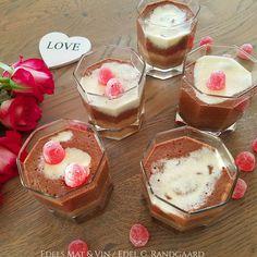 Edels Mat & Vin: Sukkerfri sjokolademousse med hvit og mørk sjokola... Panna Cotta, Cheesecake, Ethnic Recipes, Desserts, Food, Tailgate Desserts, Dulce De Leche, Deserts, Cheesecakes
