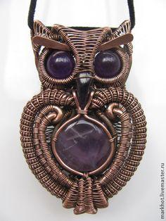 "Pendants handmade.  Fair Masters - handmade pendant made of copper and amethyst ""Hedwig.""  Handmade."
