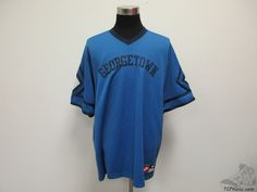 Vtg Nike Georgetown Hoyas V Neck Short Sleeve Warm Up Shirt sz 2XL 2 Extra Large #Nike #GeorgetownHoyas