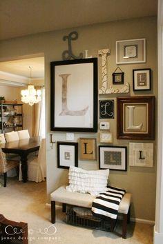 Monogram Wall - Model Home Interior Design Initial Wall, Monogram Wall, Wooden Monogram, Wall Initials, Monogram Bedroom, Letter Wall Decor, Letter Monogram, Monogram Fonts, Jones Design Company