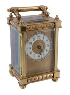 A Gilt Brass Carriage Time Piece , Unsigned, Early 20th