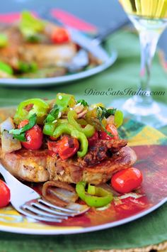 Pork Chops w/ Sausage, Veggies & White Wine