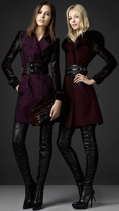 Burberry - ANKLE CHAIN LEATHER BOOTS...love the coats too. Crotch Boots, Burberry, Cashmere, Women Wear, Leather Jacket, Studded Leather Jacket, Cashmere Wool, Leather Jackets, Leather Blazer