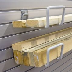 Garage Storage Ideas | Organize lumber, pipes or trim with a pair of Utility hooks .