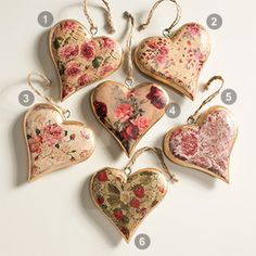 Medium vintage wooden hanging heart decoration, 12 x 12cm