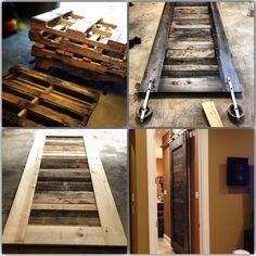 Picture of Pallet Sliding Door for master bath so door isn't in the way anymore!!!!!!